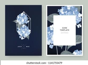 Floral wedding invitation card template design, blue hydrangea flowers in white polygon shape on dark blue background, pastel vintage style