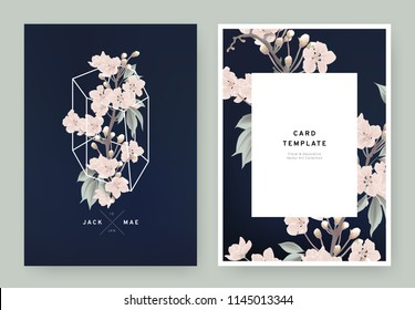 Floral wedding invitation card template design, pink sakura flowers in white polygon shape on dark blue background, pastel vintage style