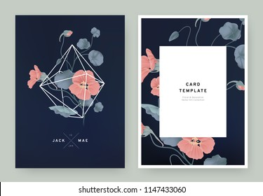 Floral wedding invitation card template design, red Tropaeolum flowers in white polygon shape on dark blue background, pastel vintage style