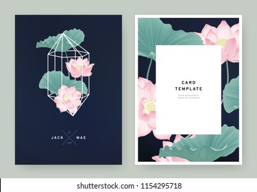 Floral wedding invitation card template design,pink lotus flowers in white polygon shape on dark blue background, pastel vintage style
