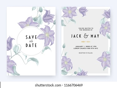 Floral wedding invitation card template design, purple clematis flowers and leaves on white with circle frame, pastel vintage theme