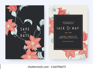 Floral wedding invitation card template design, red clematis flowers and leaves on dark blue, pastel vintage theme