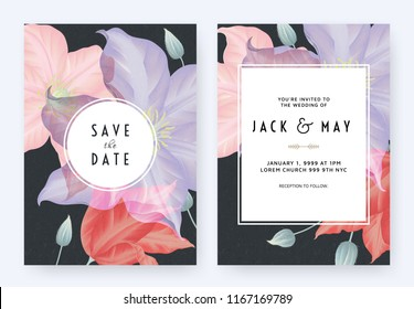 Floral wedding invitation card template design, purple, pink and red clematis flowers on dark blue with circle frame, pastel vintage theme