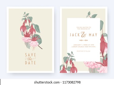 Floral wedding invitation card template design, Fuchsia icy pink flowers with leaves on light brown, pastel vintage theme