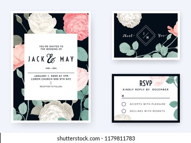 Floral wedding invitation card template design, pink and white rose flowers with leaves on dark blue, pastel vintage theme