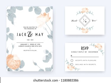 Floral wedding invitation card template design, orange rose flowers with leaves on white, pastel vintage theme