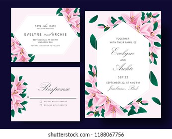 Floral wedding invitation card template design with pink lily flowers.
