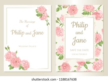 Floral wedding invitation card template design, bouquets of  rose and leaves with rectangle frame on white background, card for valentine's day, mother's day, vintage style.