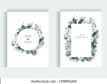 Floral wedding invitation card template design, bouquets of white and blue flowers and leaves with circle and rectangle frames on white background, vintage style