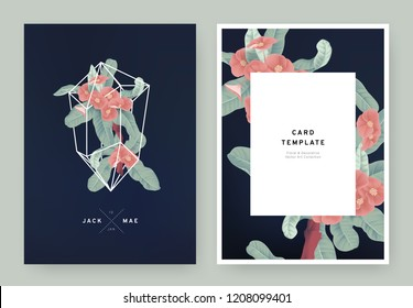 Floral wedding invitation card template design, red Euphorbia milii flowers in white polygon shape on dark blue background, pastel vintage style