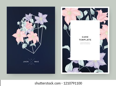 Floral wedding invitation card template design, purple and pink clematis flowers in white polygon shape on dark blue background, pastel vintage style