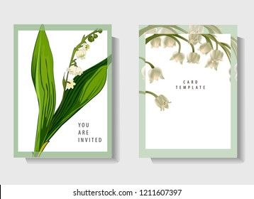 Floral wedding invitation card template design, bouquets of white flowers, lilies of the valley and green leaves with circle and rectangle frames on white  background, vintage style