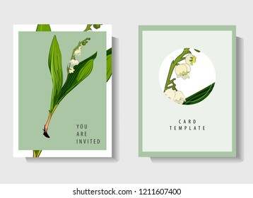 Floral wedding invitation card template design, bouquets of white flowers, lilies of the valley and green leaves with circle and rectangle frames on white and blue background, vintage style