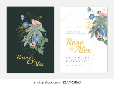 Floral wedding invitation card template design, poppies, Hepatica Nobilis and Fatsia japonica in golden polygon shape on dark green, pastel vintage style