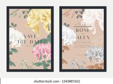 Floral wedding invitation card template design, Chrysanthemum morifolium flowers with leaves on brown, pastel vintage theme
