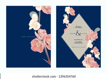 Floral wedding invitation card template design, pink Japanese quince flowers with brown frame on dark blue, pastel vintage theme