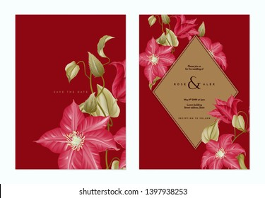 Floral wedding invitation card template design, red clematis flowers with brown frame on dark red, pastel vintage theme