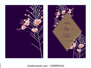 Floral wedding invitation card template design, pink peacock flowers with brown frame on dark purple, vintage pastel theme