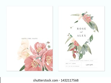Floral wedding invitation card template design, pink Japanese quince flowers with various leaves on white, pastel vintage theme