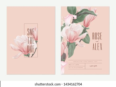 Floral wedding invitation card template design, pink Anise magnolia flowers and calla lily on light red, pastel vintage theme