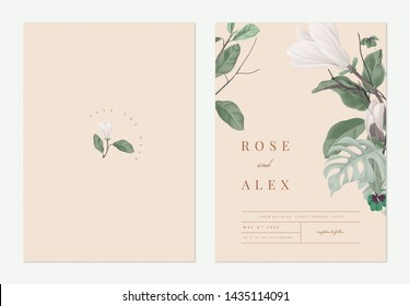 Floral wedding invitation card template design, Anise magnolia flowers with leaves on light orange, pastel vintage theme