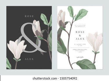 Floral wedding invitation card template design, white Anise magnolia flowers with ampersand lettering on dark grey, pastel vintage theme