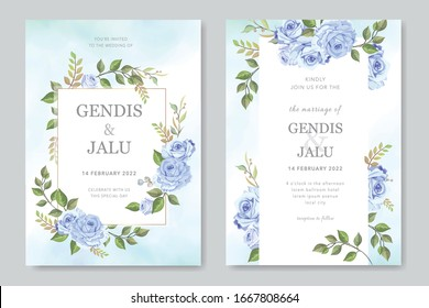 Floral wedding invitation card template set with beautiful flowers