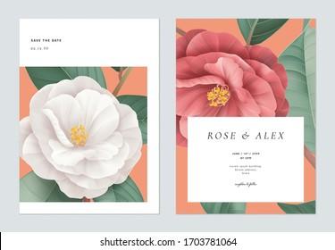 Blumenzettel mit floraler Hochzeitseinladung, Design, weiße und rote Halbdunkelblumen mit Blättern auf hellrotem Rot