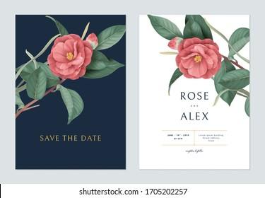 Blumenzettel mit floraler Hochzeitseinladung, rote Halbdunkelblumen mit Blättern auf dunkelblau und weiß