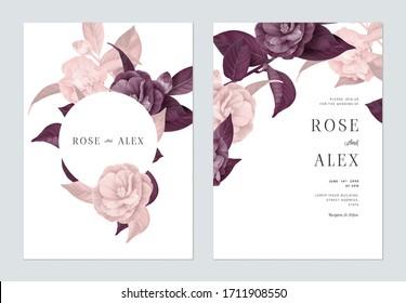 Blumenzettel mit floraler Hochzeitseinladung, Halbdoppelblumen aus Kamelien mit Blättern in violetten und rosafarbenen Tönen