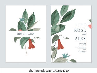 Floral wedding invitation card template design, various leaves and flowers on white