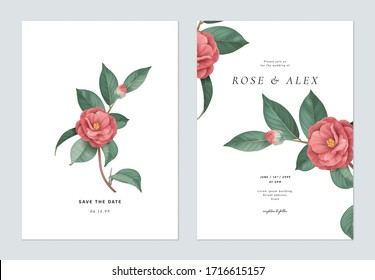 Blumenzettel mit floraler Hochzeitseinladung, rotes Halbdunkel Kamelblumen mit Blättern auf Weiß