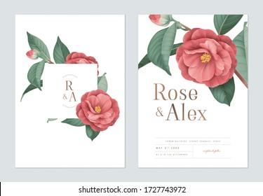 Blumenzettel für Hochzeitsfeiern, rote Semi-Doppel-Kamelleuchten mit weißen Blättern