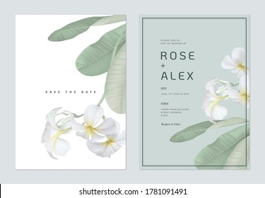 Floral wedding invitation card template design, white plumeria flowers  with leaves on bright green and white