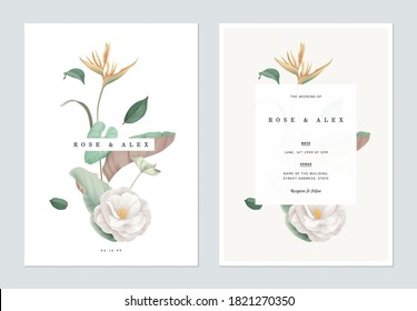 Floral wedding invitation card template design, various flowers and leaves