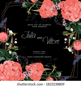 Floral wedding invitation card template design, coral peony flowers  with herbs on black, coral orange vintage theme.