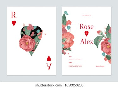 Floral wedding invitation card template design, red Semi-double Camellia and various red flowers with leaves on white