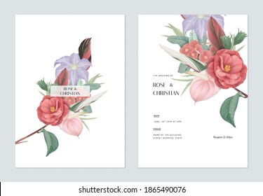 Floral wedding invitation card template design, various types of flowers and leaves bouquet