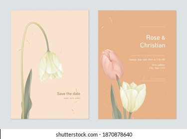 Floral wedding invitation card template design, yellow and pink tulip flowers with lives