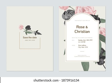 Floral wedding invitation card template design, black and pink rose with leaves