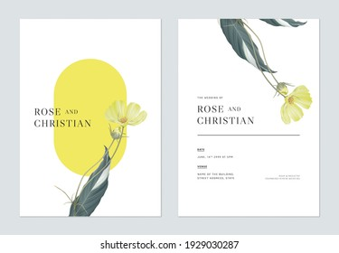 Floral wedding invitation card template design, yellow cosmos flowers with leaves
