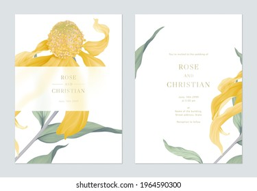 Floral wedding invitation card template design, Cutleaf coneflower with leaves on white