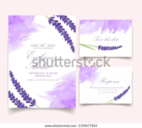 Floral Wedding Invitation Card Template Design Stock Vector