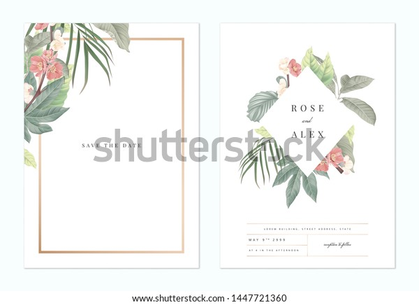 Floral Wedding Invitation Card Template Design Stock Vector