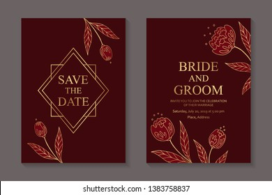 Floral wedding invitation design or greeting card templates with golden flowers and frames on a red background.