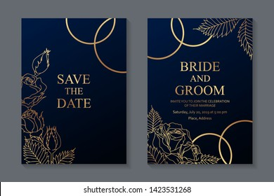 Floral wedding invitation design or greeting card templates with golden roses and rings on a dark blue background.