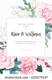 Floral wedding invitation design with pale pink roses on the white background. Romantic and elegant vector design.
