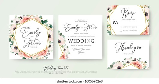 Floral Wedding Invitation elegant invite, thank you, rsvp card vector Design: garden flower pink, peach Rose, white wax Anemone, green Eucalyptus tender greenery, berry bouquet, golden geometric frame