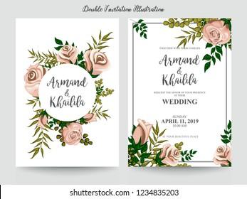 Floral Wedding Invitation elegant invite, thank you, rsvp card vector Design: garden pink, peach Rose flower, trendy bouquet
