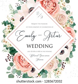 Floral Wedding Invitation elegant invite card vector design. Garden flower pink, lavender Rose, white wax dusty blush Anemone, silver green Eucalyptus leaves, berry bouquet print delicate luxury frame